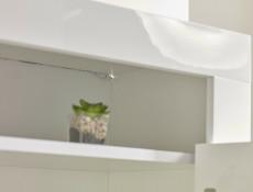 Modern White Gloss Glass Display Cabinet & TV Unit Media Stand with Blue LED Lights - Lily (HOF-LILY-RTV+1D-BI/BIP-LED-BLUE)
