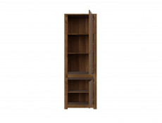 Classic Tall Bookcase 2-Door Storage Cabinet Unit Dark Oak/Grey - Kada