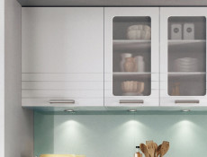 Whitelight Grey Kitchen Wall Glass Cabinet Cupboard 80cm Unit