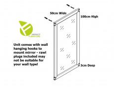 Traditional Wall 100cm Rectangular Mirror in Dark Oak Effect Finish with Brass Metal Corner Accents - Indiana (S31-JLUS50-DSU-KPL01)