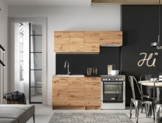 Complete Kitchen Set of 5 Cabinets Units Flat Pack in Artisan Oak finish with Franke Sink – Nela 1