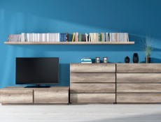 Modern Living Room Media Bench TV Cabinet Storage Unit 2 Drawers Oak - Anticca (S317-RTV2S-DAMO-KPL01)
