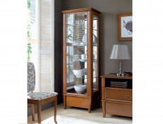 Traditional Tall Glass Fronted Display Cabinet Cherry Wood Veneer Mirror Backing - Orland (REG1W1S/60)