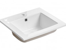 Modern Wall Vanity Bathroom Sink Cabinet Set 40cm Ceramic Sink White Gloss/Concrete - Atelier