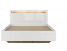 Modern White Gloss Ottoman Double Bed Frame with Gas Lift Up Storage Compartment -Alameda