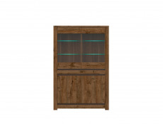 Classic Wide Glass Door Storage Display Cabinet Unit with LED Lights Dark Oak/Grey - Kada