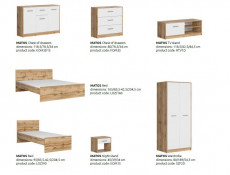 Modern Slimline Double Wardrobe 2 Door Storage Hanging Rail Unit 80cm White Matt/Oak finish - Matos (S414-SZF2D-DWO/BI)