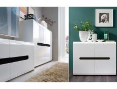 Modern White High Gloss Living Room Furniture Set Sideboard Glass Display Cabinet Wall Shelf TV Unit - Azteca Trio