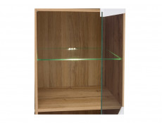 Modern Tall Glass Fronted 1 Door Display Cabinet  Unit White Gloss/Oak - Zele