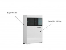 Modern Large Glass Display Cabinet with LED Lights Storage Unit 100cm White/White Gloss - Fever
