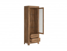 Modern Tall Display Glass Cabinet Showcase Storage Unit LED Lights Oak - Gent (S228-REG1W2S/20/7-DAST-KPL01)