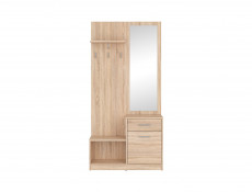 Hallway Stand Entrance Hall Cabinet Shoe Storage Set White or Sonoma Oak Finish - Nepo (S435-PPK-DSO-KPL01)