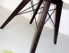 Modern White Dining Chair Wooden Brown Legs Eco-Leather Seat Eames Eiffel Retro Style - Azteca Trio