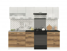 Tall Larder Kitchen Cabinet Pantry 500 Cupboard Unit 50cm Right Light Delano Oak / White Gloss - Junona (K24-D2D/50/195_P-BI/BIP/DDJ-KPL01)