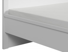 Modern Double Bed Frame with Solid Wood Slats in White Matt Finish - Kaspian