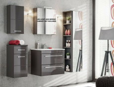 Modern Grey Gloss Bathroom Furniture Set 60cm Sink Cabinet Wall Storage Units Soft Close - Twist