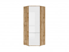 Modern Compact White Gloss & Oak Corner 1 Door Wardrobe with Rail and Shelf - Zele