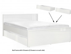 Modern 5 Piece Bedroom Furniture Set Double Bed Wardrobe Chest White Gloss/Oak - Pori
