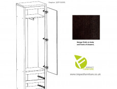Single Mirror Door Slim Compact Wardrobe Wenge brown finish - Kaspian (S128-SZF1D2SP-WE/WE-KPL01)