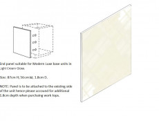 Universal End panel for Cream Gloss Kitchen Cabinets Cupboards - Modern Luxe
