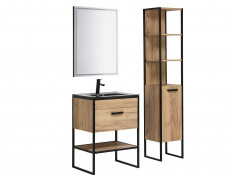 Modern Industrial Tall Bathroom Cabinet Shelving Tallboy Unit Oak Black Metal Frame - Brooklin