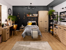 Modern Industrial Study Home Office Set: Desk Cabinet and Storage Bookcase with Drawers Ash Effect - Lara