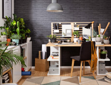 Modern Home Office Study 3 Piece Furniture Set Shelving Desk Cabinet White Gloss/Oak Finish – Denton