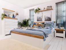 Scandinavian King Size Bed Frame with Bed Slats & Headboard White/Oak - Holten