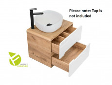 Modern Bathroom Wall Mounted White Gloss/Oak 60cm Vanity Cabinet Unit Sink Basin - Aruba
