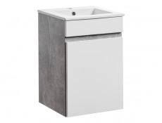 Modern Wall Vanity Bathroom Sink Cabinet 40cm Ceramic Sink White Gloss/Concrete - Atelier