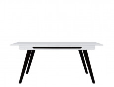 Modern White Gloss Extending Dining Table Solid Wood Black Legs with Black Gloss insert - Azteca Trio