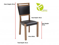 Modern Dining Room Set: Extendable Extending 160 - 240 cm Table and 4 Solid Wood Chairs Black/Oak Effect - Gent