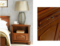 Bedside Cabinet Table Classic Style Traditional Bedroom Furniture Cherry Finish - Natalia