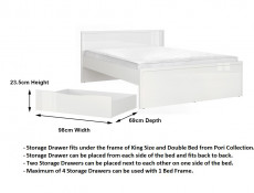 Modern White High Gloss King Size Bed Frame & 4 Under Bed Storage Drawers - Pori (L87- set 4)