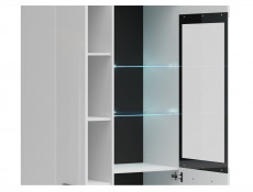 Modern White Gloss Tall Large Glass Display Cabinet Buffet Shelf Unit LED Lights Black Rim - Assen