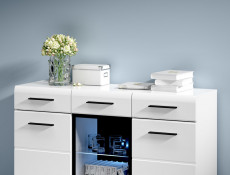 Fever - Wide Sideboard Display Cabinet White High Gloss LED light (KOM1W2D2S/9/15)