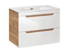 Modern Wall Vanity with Sink Bathroom Cabinet Unit Drawers Oak/White 60cm  - Aruba (ARUBA_820-60_CM+CFP-60D)