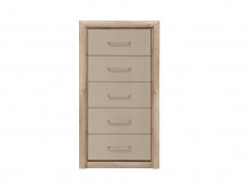 Tallboy Chest of 5 Drawers in Beige Gloss and Oak finish - Koen 2 (KOM5S)