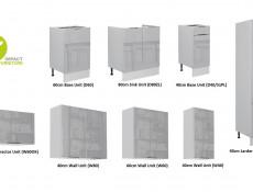 Light Dove Grey Gloss Kitchen Cabinets 8 Unit Set with Slim Larder 280cm Modern Style - Luna (STO-LUNA_SET-7UNITS-40CMSL-SZ-SZP)