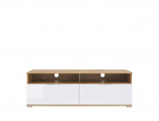 Modern Wide Media Table TV Stand Cabinet Unit White Gloss/Oak 135cm - Zele