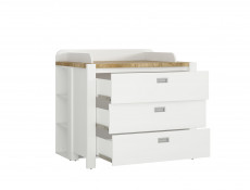 Country Cottage Baby Changing Table Nursery Chest of Drawers Set White/Oak - Dreviso Baby