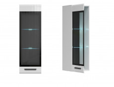 Modern White Gloss Wall Mounted Display Cabinet Glass Fronted LED Lights Unit - Assen