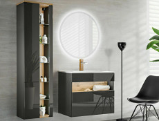 Modern Grey Gloss Wall Hung Bathroom Tall Cabinet Storage Unit with LED Light Glass Shelves - Bahama (BAHAMA_800 _GREY)