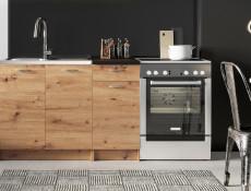 Complete Kitchen Set of 5 Cabinets Units Flat Pack in Artisan Oak finish – Nela 1