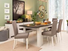 Scandinavian White Shabby Chic 160-200cm Extending Dining Table Scratch Resistant Dark Wood Effect Top - Antwerpen (S214-STO/7/16-MSJ/SOL-KPL03)