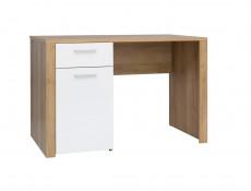 White Gloss & Oak Effect Childrens Single Euro Size Bedroom 7 Piece Set Bed Frame Desk Wardrobe  - Balder