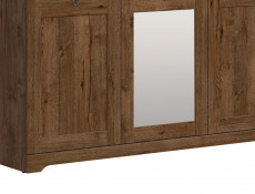 Classic Bedroom Three Door Wardrobe Triple Storage with Mirror Dark Oak - Patras