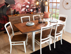 Classic Wooden Extending Dining Table Dining Room White/Acacia - Kalio
