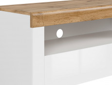 Scandinavian Media Table TV Stand Storage Cabinet Unit White Gloss/Oak 106cm - Holten