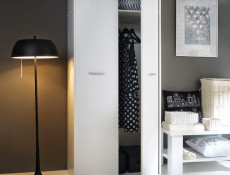 Modern Two Door Double Wardrobe Wenge, White or Sonoma Oak Finish- Nepo (S435-SZF2D-BI-KPL01)